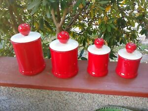 Vtg canister sets kitchen ceramic, Red Apple, Made In USA, Flour, Sugar