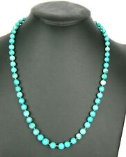 Vintage Estate Turquoise 14K Gold Graduated 6-8.7mm Handknotted Strand Necklace