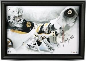 """Autographed & Framed Tim Thomas LE #13/30 """"Puck Through Glass"""" 28x30 Photo (UDA)"""