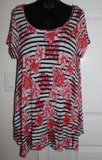 Jones New York Woman 1x Striped Floral Short Sleeve Asymmetrical Knit Top XL
