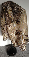 ELLEN TRACY Silk Scarf Gold White & Brown Colors-Excellent Condition