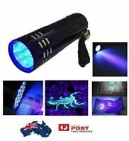 Mini Aluminum UV ULTRA VIOLET 9 LED FLASHLIGHT BLACKLIGHT Torch Light Lamp AUST