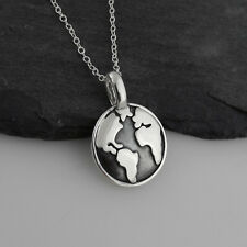 Globe Necklace - 925 Sterling Silver - Pendant Planet Earth World Travel Gift