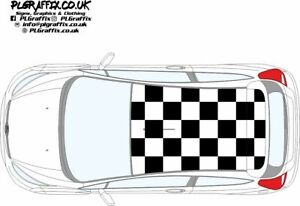 Ford Fiesta Mk7 & 7.5 chequered Roof graphics stickers decals  ST ZS Zetec S