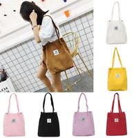 Women Corduroy Canvas Tote Bag Large Capacity Simple Handbag Casual Shoulder Bag