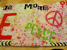 13 COLORFUL~Fabric SHOWER CURTAIN~Retro~PEACE sign~Red~green~orange~purple LOVE