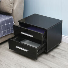 Bedside Table Black With 2 Drawers Modern Style With Multi-color Led Backlight