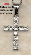 "18ct White Gold 1.1ct Real round cut Diamonds Cross Pendant G/H SI + 18"" chain"