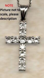 "18ct White Gold 1.1ct Real round cut Diamonds Cross Pendant G/H SI + 18"" chain"