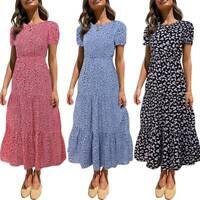 Womens Summer Boho Floral Cap Sleeve Dress Loose Casual Holiday Beach Maxi Dress