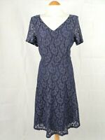 Ladies Dress Size 16 M&S Blue Lace Fit and Flare Party Evening Wedding