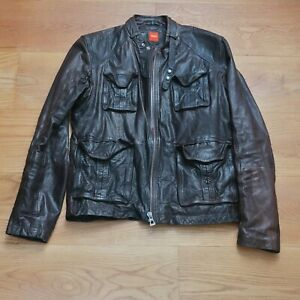 Vintage Hugo Boss Leather Jeremay-2 Jacket (Boss Orange)  Moto 40R Medium Brown