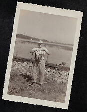 Vintage Antique Photograph Man Smoking Cigarette & Holding Dead Fish by Water