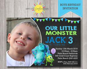 Personalised Printable Photo Boys Birthday Invitation Monsters Inc Any Age