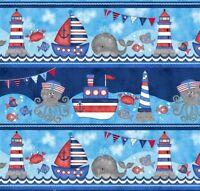 Anchors Away Large Sea Stripe 4078-78 Cotton Quilt Fabric Studio E  Sharla Fults