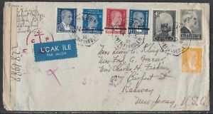 Turkey - May 14, 1945 Censored Air Mail Cover States