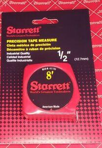 """Starrett Precision 8' Tape Measure 1/2"""" American Made NOS!"""