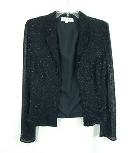 black CECILY BROWN jacket blazer 100% silk beaded evening formal party S SMALL
