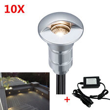 10Pcs 12V Outdoor Warm White Half Moon Garden Path LED Deck Stair Lights Set