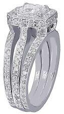 14k Oro Blanco Anillo Compromiso Corte Diamante Princesa Halo Deco Separado Pata
