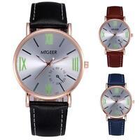 Luxury Wrist Watch Men's Stainless Steel Analog Faux Leather Quartz Dial Watch