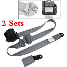 2 Sets Car Vehicle 3-Point Safety Retractable Seat Belt Lap & Diagonal Belt Gray