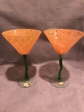 Nouveau Handcrafted Martini Glasses Orange Green Set of 2 Excellent Condition