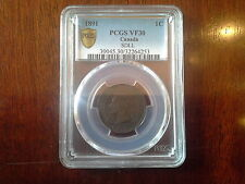 Canada 1891 One Cent SMALL DATE LARGE LEAF PCGS Graded VF30