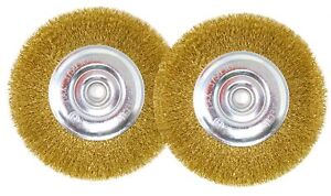 6-Inch Wire Wheel Brush Set for Bench Grinder, Pack of 2