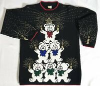 Vintage Holiday Time Ugly Christmas Sweater Party Mom Bears Size Medium USA Made