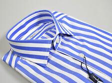 Camicia moda Ingram Slim Fit a righe Azzurro puro cotone collo mezzo francese