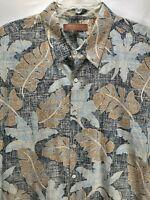 Tori Richard Mens 2XL Hawaiian Shirt Beige Floral Short Sleeve Button Up Cotton