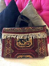 Authentic Vintage Lee Stemer Carpetbagger Tote/Real Carpet/Leather Handles/Rare
