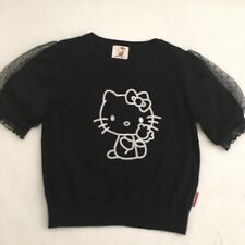 Hello Kitty Top Knit Fancy Puff Lace Sleeves Sanrio Japan Style Black Size Med