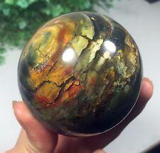 Q36 493g  Natural Pretty Agate Gem stone Sphere Crystal Ball Healing