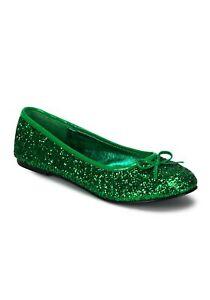 Adult Kelly Green Glitter Flats