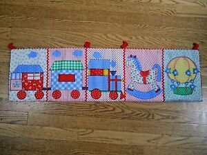 Adorable fabric baby nursery wall hanging / Train/Rocking Horse / Balloon (228)