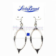 Lucky Brand Antiqued Silver Tone Leaf Pave Stone Drop Earrings