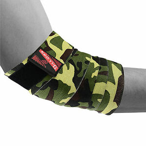 HEAVY DUTY ELBOW SUPPORT WRAPS GYM POWER WEIGHT LIFTING STRAPS BANDAGE PAIR CAMO