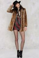 RIVER ISLAND UK SIZE 12 FAUX FUR LEOPARD ANIMAL PRINT COAT JACKET WOMENS LADIES