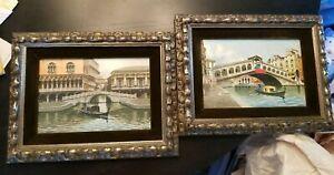 Set of 2 Framed SARI Original Watercolor Paintings Venice Rialto Bridge of Sighs