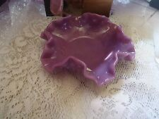 Fenton Plum Opaque Opalescent Hobnail bonbon candy dish with Logo Rare