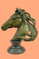 Bronze Sculpture Statue Rare Hot Cast Superb Horse Trophy Bust Figure Signed Art