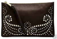 Michael Kors Tasche Clutch Bag rhea studded  zip dk chocolate neu