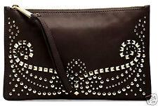 Michael Kors Tasche Clutch Bag rhea studded  zip dk chocolate neu