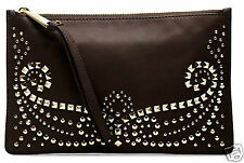 Michael Kors Tasche/Clutch/Bag Rhea Studded Leather Large Zip Dk Chocolate  NEU!