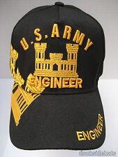 US ARMY ENGINEER VETERAN Cap/Hat New Black Military Free Shipping