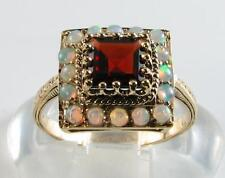 STRIKING 9CT 9K GOLD MADAGASCAN GARNET & AUSTRALIAN OPAL ART DECO INS RING