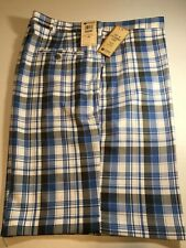 HAGGAR  MEN'S COOL 18 PERFORMANCE FLAT FRONT SHORT SIZE 42  BRT BLUE PLAID   NWT