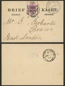 Orange Free State 1897 - Postal stationery to East London Z24